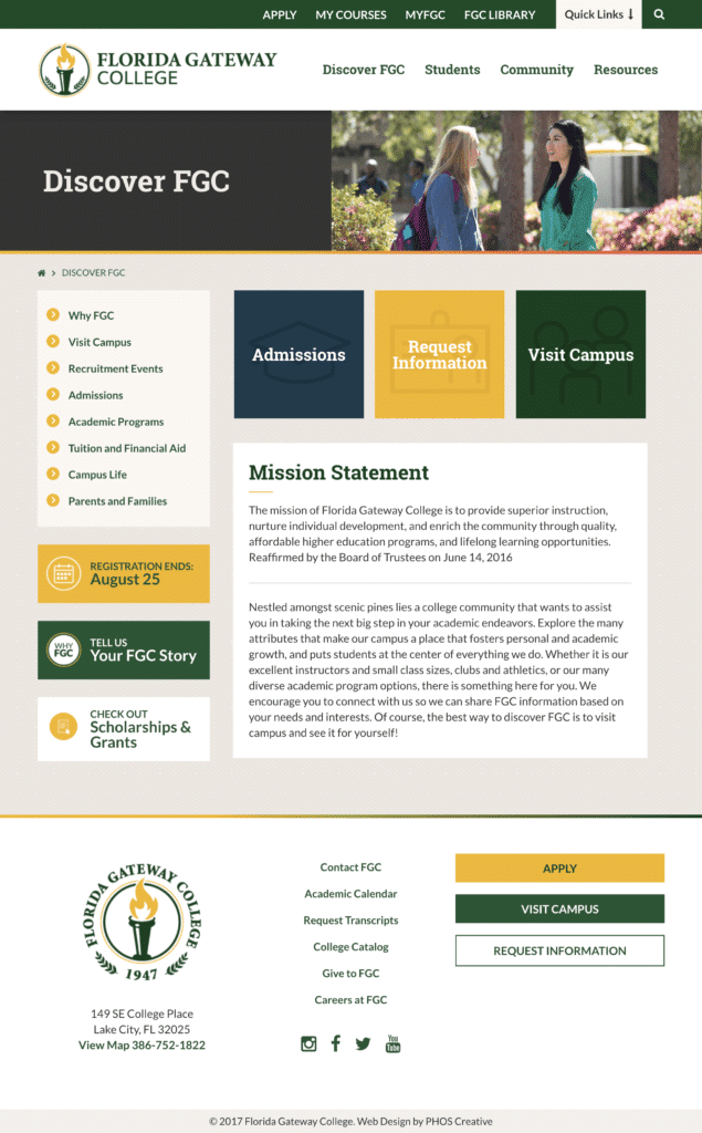 Florida Gateway College Website Navigation