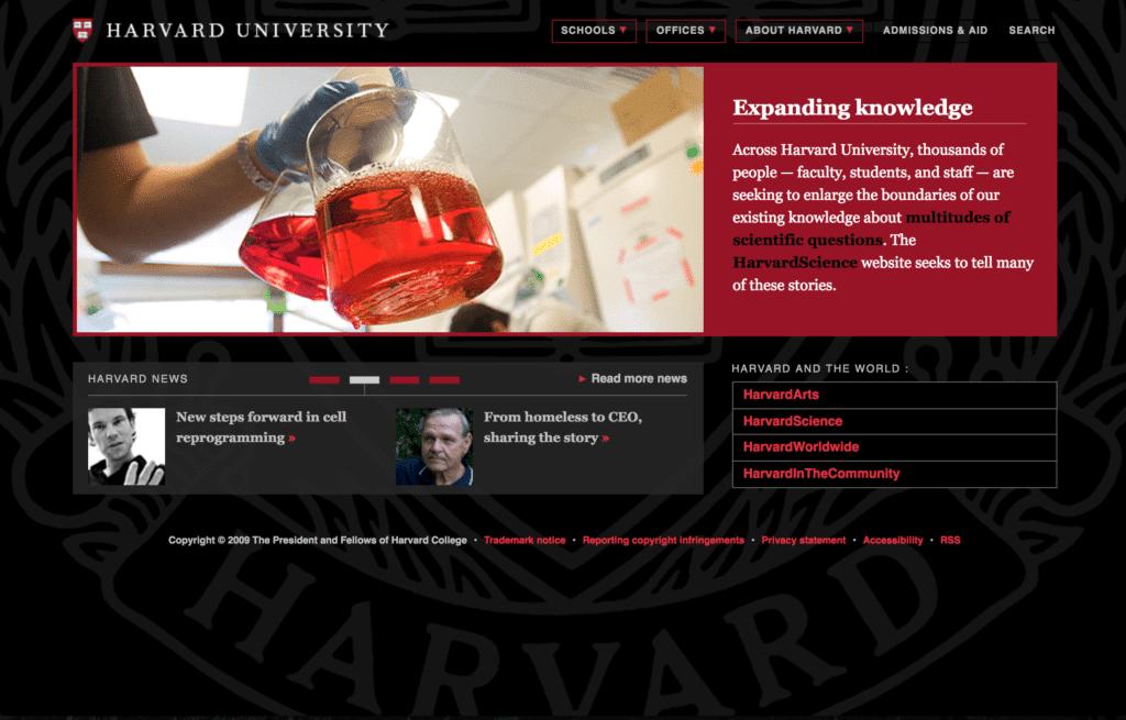 Harvard College Website 2009