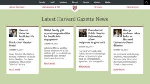 Harvard College Website