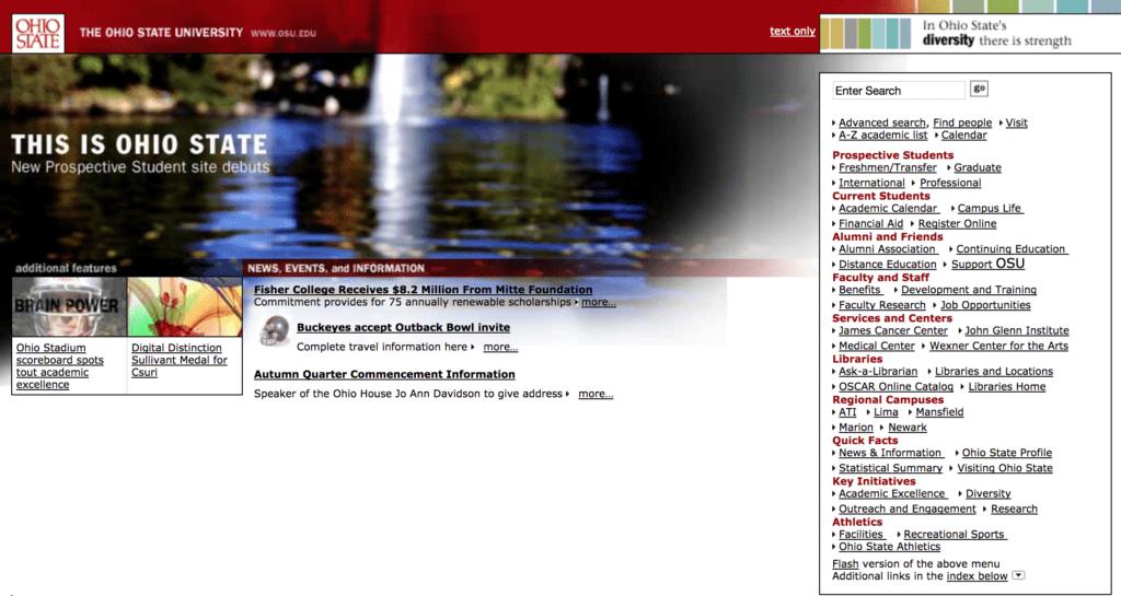Ohio State College Website 2000