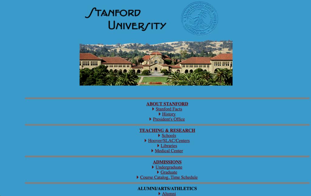 Stanford College Website 1996