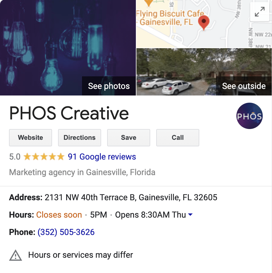 PHOS Creative Google My Business Listing