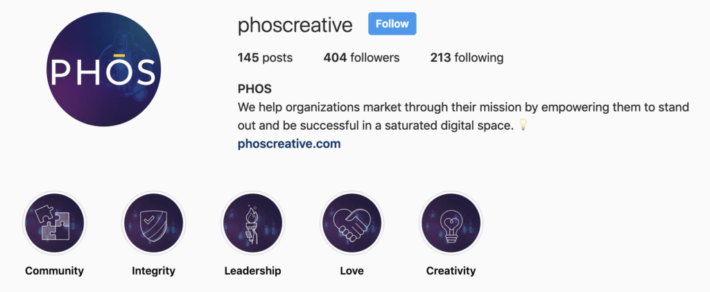 A screenshot of story highlights on PHOS Creative's Instagram