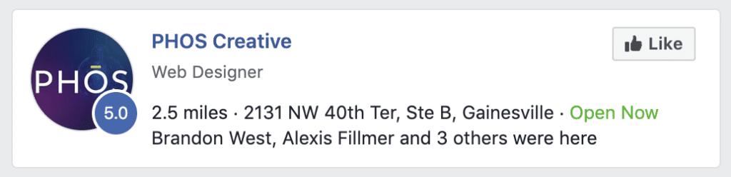 A screenshot of PHOS Creative in Facebook search