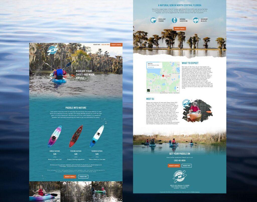 DJ's Kayaks Rentals website