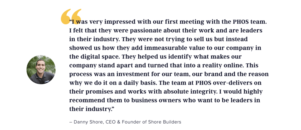 PHOS Client Testimonial on Website